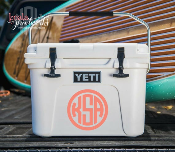 Yeti Cooler Decal Monogrammed Cooler Personalized Cooler Boater Gift Yeti Tundra Monogram Yeti Roadie Decal Water Cooler Decal