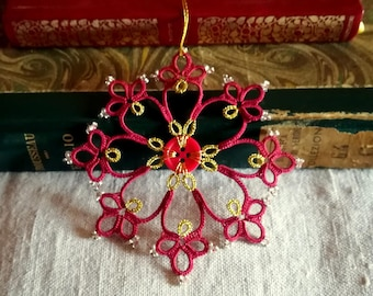 Christmas decoration, burgundy red, gold, windows decoration, Christmas tree decoration, gift idea, button snowflake, handmade in Italy