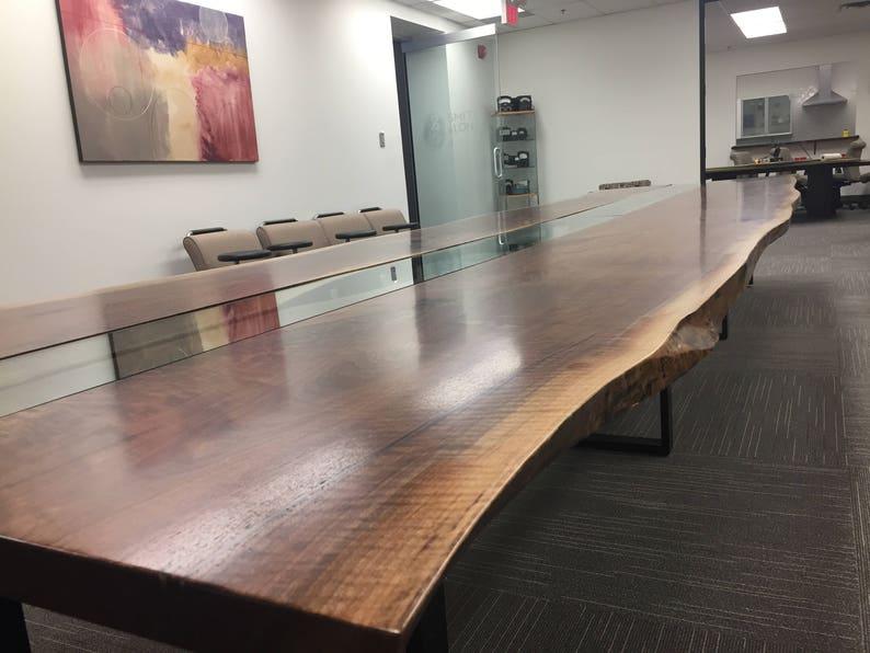 Slab Wood Computer Desk - English Walnut with Epoxy Resin