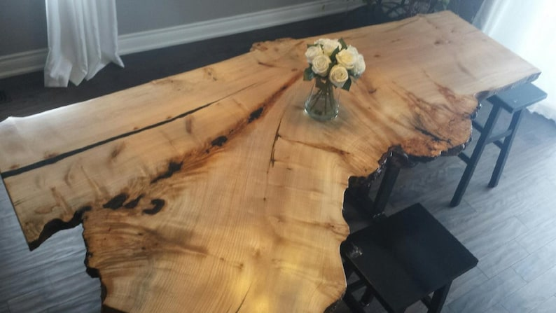 Live Edge Table Custom Glass Resin Table Black Walnut Live ...