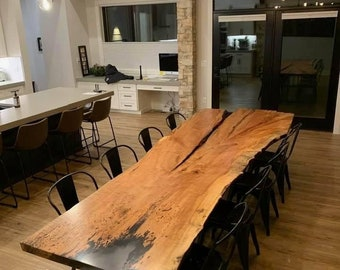 Custom order a Single Slab Spalted Maple Live Edge Table With RIver Rock Resin Inlay Epoxy Table  Live Edge Conference Table Boardroom Table