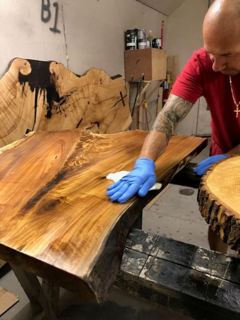 Live Edge Coffee Table Black Walnut Maple Glass and Resin ...