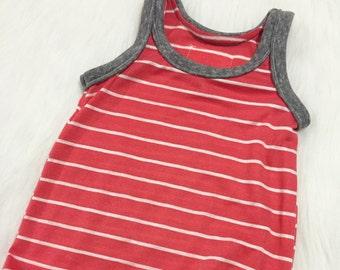 Coral Baby Romper - Stripe Romper - Coral Harem Romper - Harem Pants - Toddler Romper - Stripe Romper - Boy Romper - Orange Stripe Romper