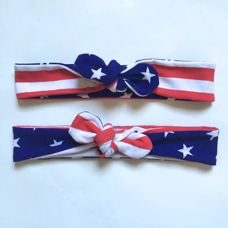 USA American flag headband turban to wear to 4th of July parties and patriotic celebrations.