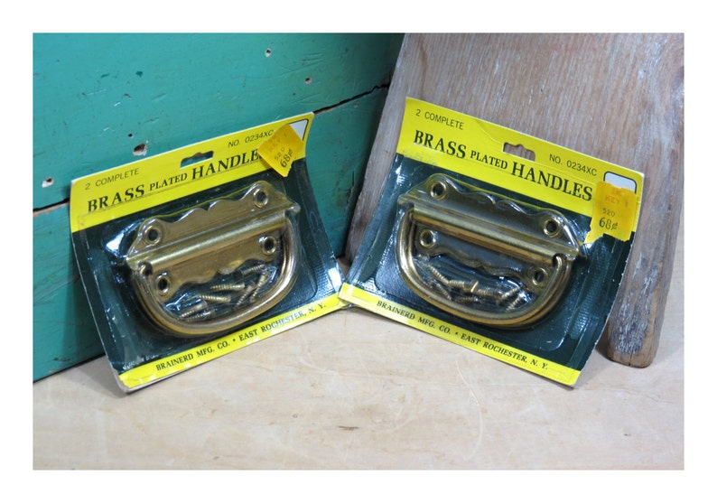 One Package Brainerd Mfg Co Rochester NY No Made in USA . 0234XC Early Kmart Stock 1960s Brass Plated Handles Vintage NOS