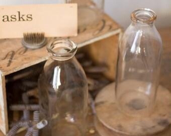 Vintage Glass Milk Bottles - small neck