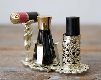 Vintage Lipstick/Nail Polish Holder - Includes perfume bottle and one lipstick