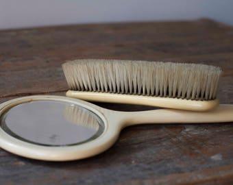 Vintage Mirror & Brush Set