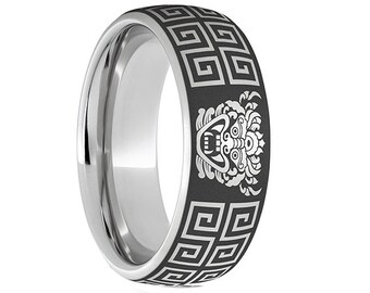 Stainless Steel Celtic Knot Forged Black Carbon Fiber Ring 8MMFREE ENGRAVING