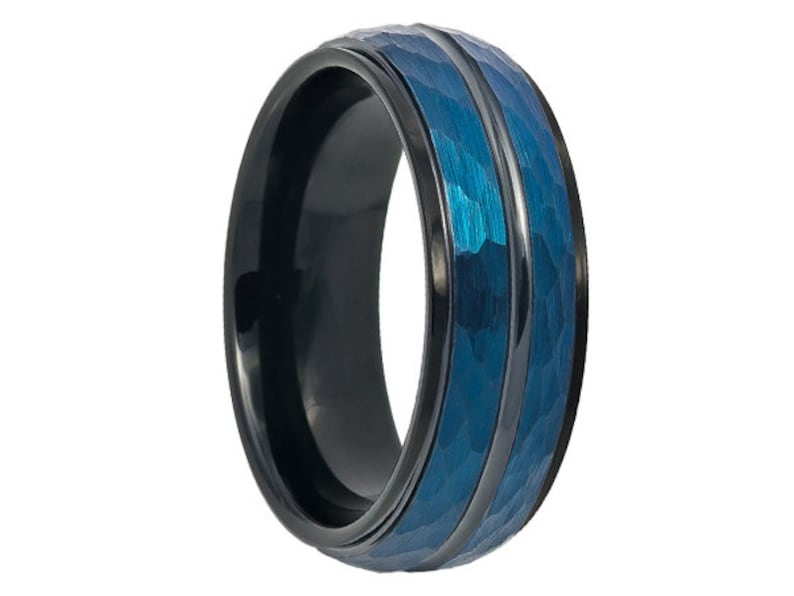 Tungsten Wedding Band,8mm Prussian Blue Wedding Band,Blue Tungsten Ring,Engraving,Anniversary,Brushed,Size,Mens Ring,Mans,Rings,Set