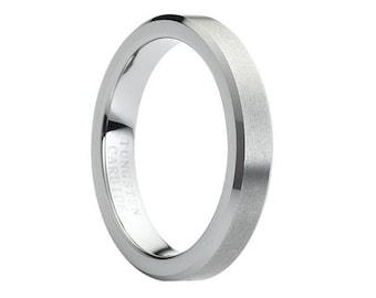 Custom Tungsten Ring 4mm Wedding Band Mens Tungsten Carbide Ring Male Wedding Band Matching Couple Ring Tungsten Wedding Band Mens Tungsten