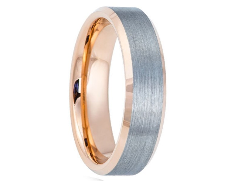 6mm Two Tone Tungsten Wedding Band18k Rose Gold 6mm18k Rose Etsy