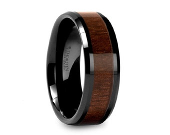 Black Walnut Wood Inlay Black Ceramic Wedding Band 8mm Ceramic Inlaid Ring Black Walnut Wood Inlay 8mm Mens Ceramic Ring
