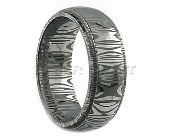 Damascus Steel Wedding Band Dome Shape Stepped Edge 8mm