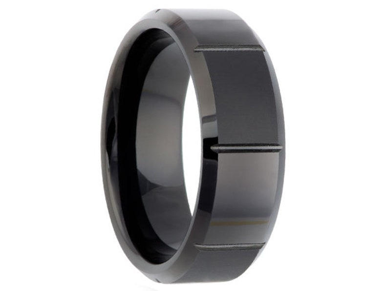 45f5042719199 8mm Men's Black Tungsten Wedding Band, Tungsten Ring, Men's Black Wedding  Band, Black Tungsten Ring, Tungsten Band, Personalized Ring