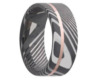 Damascus Steel Wedding Band Twisted with 14K Rose Gold Inlay Ring Pipe Cut Shape Black Wedding Band Damascus Steel Ring 8mm