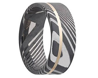 Damascus Steel Wedding Band Twisted with 14K Yellow Gold Inlay Ring Pipe Cut Shape Black Wedding Band Damascus Steel Ring 8mm