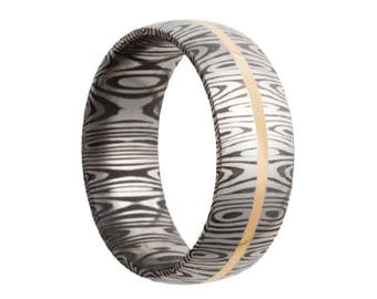 Damascus Steel Wedding Band Domed Shape with 14K Yellow Gold Inlay 8mm