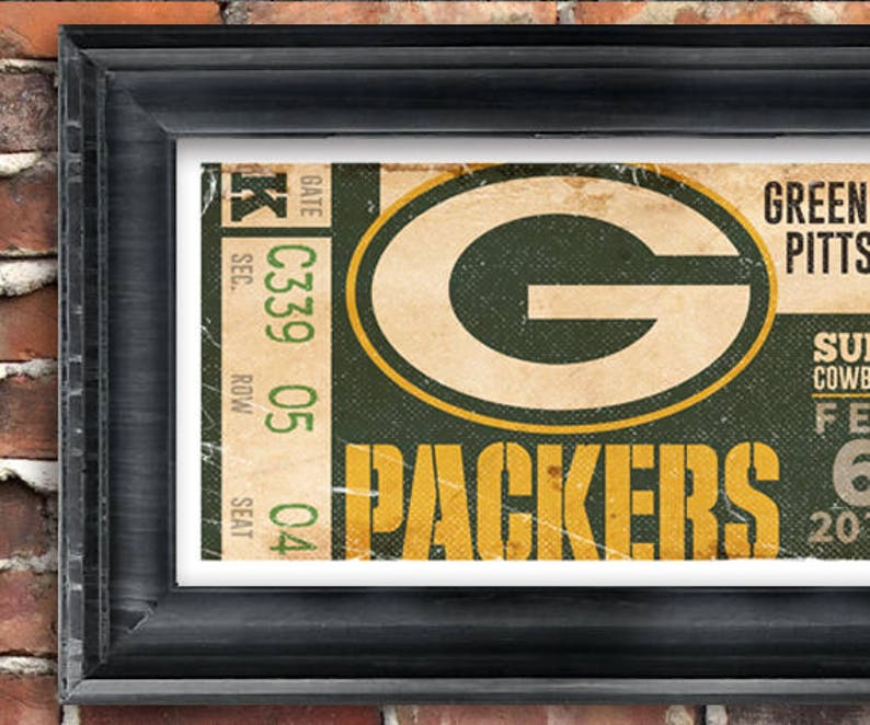 Superbowl 45 Green Bay Packers Vintage Ticket Poster  479fe54ef