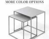 Nesting tables industrial minimalist bedside table nightstand stacking tables bedside side table industrial sidetable cube tables pcd2