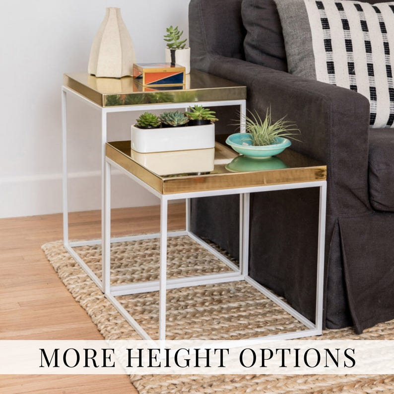 b63477c0c8b5 Brass coffee table nightstand side tables or end table brass.