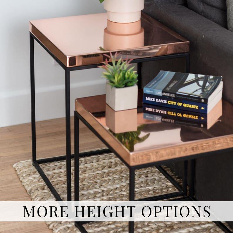 Table chevet côté cuivre table bout de canapé en cuivre / chevet table.  Minimalistes et tables de chevet loft contemporain Mid Century #pcd3 de ...