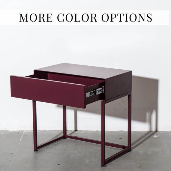 hot sale online 6afd8 80f95 Table Modern Side Table Bedside Storage Soft Close Drawer. Design  Contemporary Table Metal Bed Side Drawer Midcentury Home Oxblood #PCD4