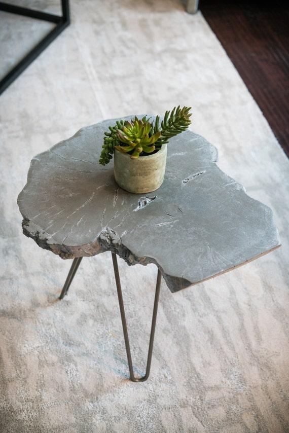 Concrete End Table Live Edge Wood Slice Table Concrete Table | Etsy