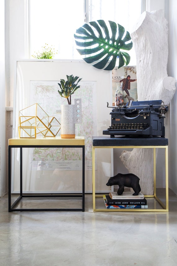 Brass Side Table for Lofts Gold End Tables Contemporary Minimal Nightstand Brass Bedside Table Scandinavian Modern Night Stand Gold #PCD2