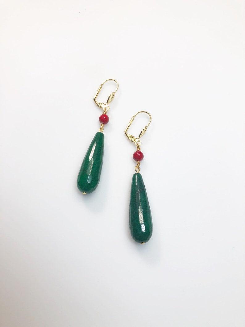 Howl/'s Green Jade /& Red Drop Earrings \u2022 Gold Lever Back Earrings \u2022 Howl/'s Moving Castle Inspired \u2022 Cosplay Earrings \u2022 Studio Ghibli