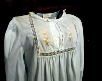 694bfd1b9d Barbizon Blue FLannnel Nightgown Floral Embroidery Long Sleeve Mid Century  Sleepware Feathaire