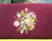 Needlepoint Bench Cover Floral Wall Hanging PIllow Mid Century Needlepoint