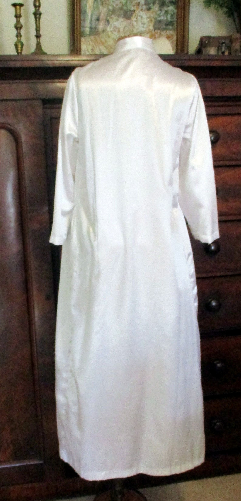 Saybury Nightgown Smocked Night Gown Robe Long Sleeve Pockets Flannel Lined 2 Available One Blue One White