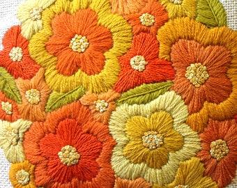 Crewel Pillow Vintage Hand Made Crewel Pillow 1950s