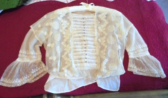 Victorian Lace Embroidered Tulle Wedding Blouse Fr