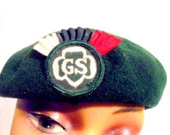 Vintage Girl Scout Hat Beret Green Fan Cadette Cocade Patch 1960's Wool GSA Tam