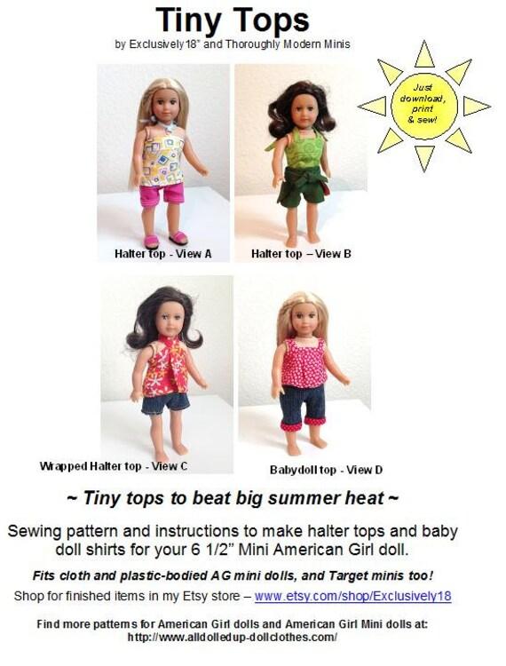 Tiny Tops American Girl mini doll shirt pattern fits old | Etsy