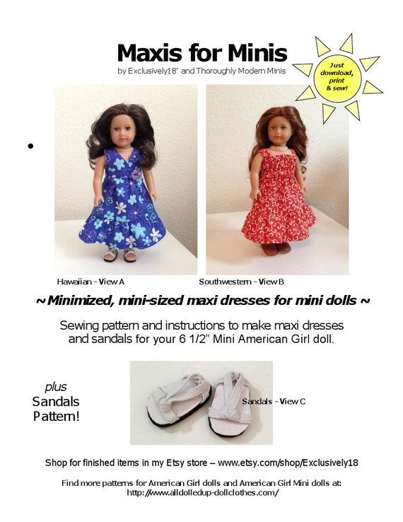 Maxis For Minis American Girl Mini Doll Pattern 40 Maxi Etsy Custom American Girl Patterns