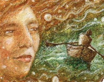 Giclee Print, Mermaid, Siren, Sailor, Sea Goddess, Fine Art, Illustration, by Lisa Wrench