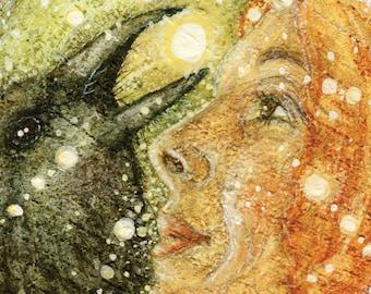 Giclee Print, Raven, Corvid, Animal Totem, Spirit Guide, Fairy Tale, Myth, Fine Art, Illustration, by Lisa Wrench