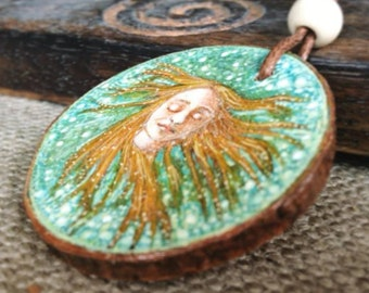 Hand painted, Wooden Pendant, Mermaid Necklace, River Mermaid, Siren, Red Hair, Ondine, Ophelia, Wearable Art, by Lisa Wrench