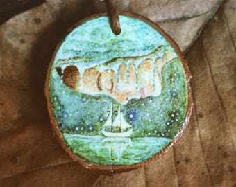 Hand painted, Wooden Pendant, Siren and Sailor, Mermaid Necklace, Boat, Sea Spirit, Wearable Art, Illustration, by Lisa Wrench