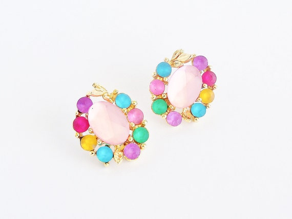 TWO SISTERS Frosted Rainbow Earrings