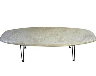 Vintage Mid Century Composite Marble Surf Board Coffee Table
