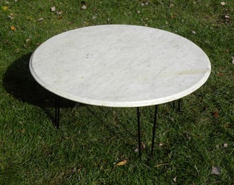 Genial Vintage Mid Century Modern White Marble Cocktail Coffee Table With Bevel  Edge