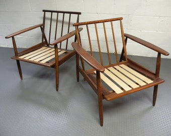 Vintage Danish Style Mid Century Lounge Chairs. Price Is For The Pair.
