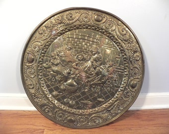 Large Vintage English Round Copper Wall Hanging