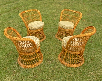 Vintage Mid Century Set of 4 Rattan Wicker Chairs --- Near Perfect Condition