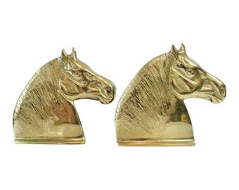 Vintage Brass Horse Head Bookends - A Pair