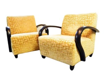 Set of 2 Custom Art Deco Modern Lounge Chairs